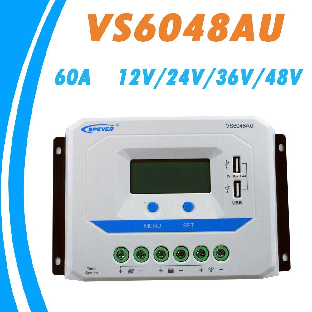EPEVER 60A Solar Controller 12V 24V 36V 48V Auto VS6048AU PWM Charge Controller with Built in LCD Display and Double USB 5V Port vs6048bn 60a 24 48v auto pwm controller network access computer control can connect with mt50 for communication