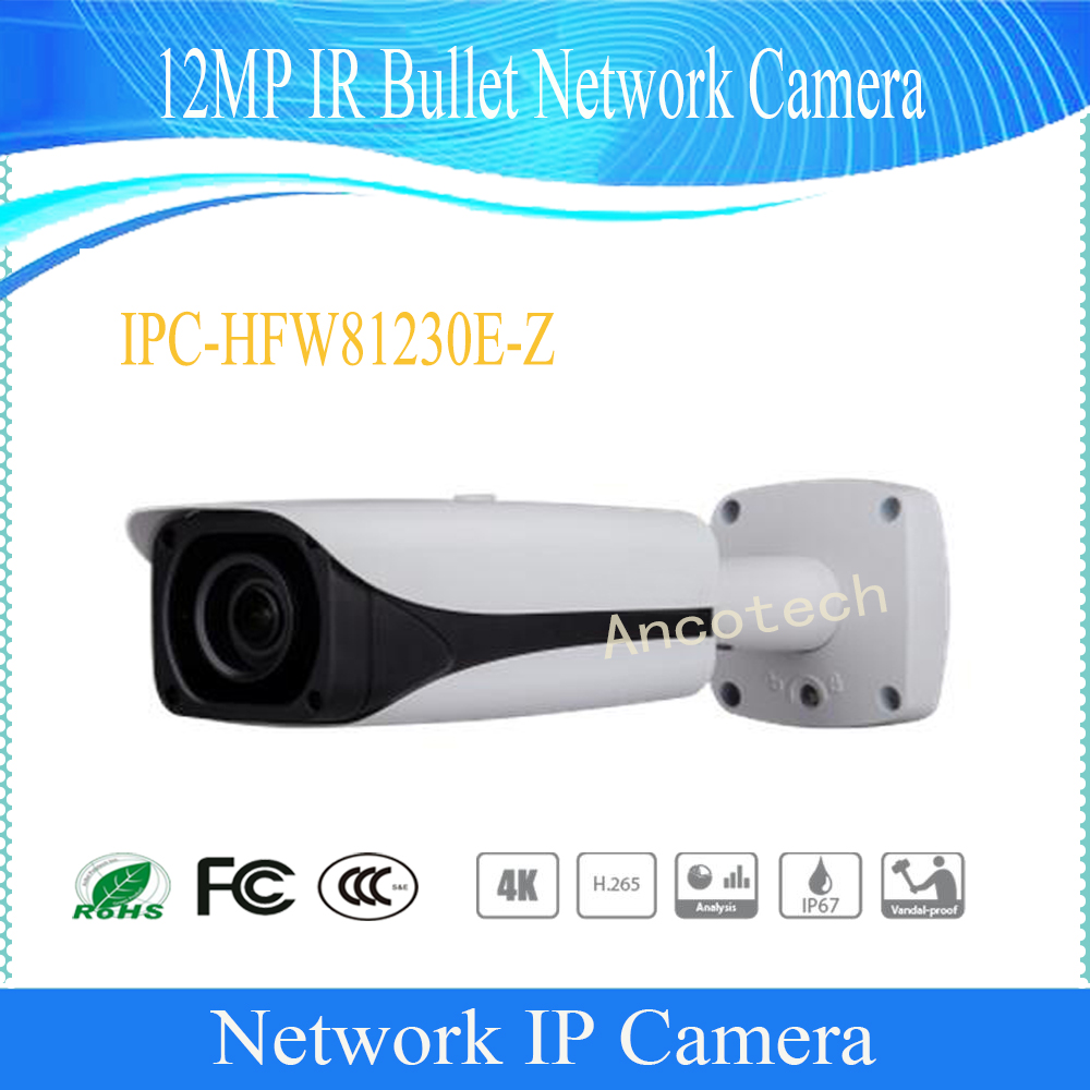 Free Shipping DAHUA Security IP Camera 12MP FULL HD IR Bullet Network Camera IP67 IK10 With POE Without Logo IPC-HFW81230E-Z free shipping dahua cctv camera 4k 8mp wdr ir mini bullet network camera ip67 with poe without logo ipc hfw4831e se