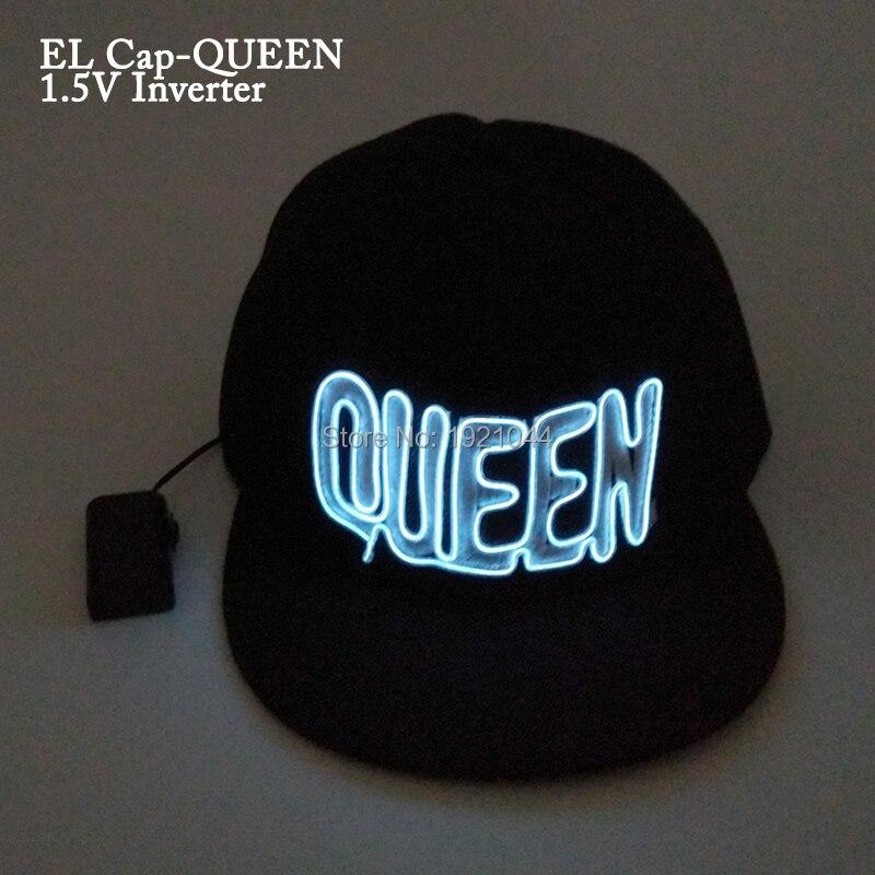 Dc-3v устойчивый на Драйвер + LED EL Провода светящиеся полноценно моды король королева неон свет свечение партия hat танцевальная вечеринка Деко...