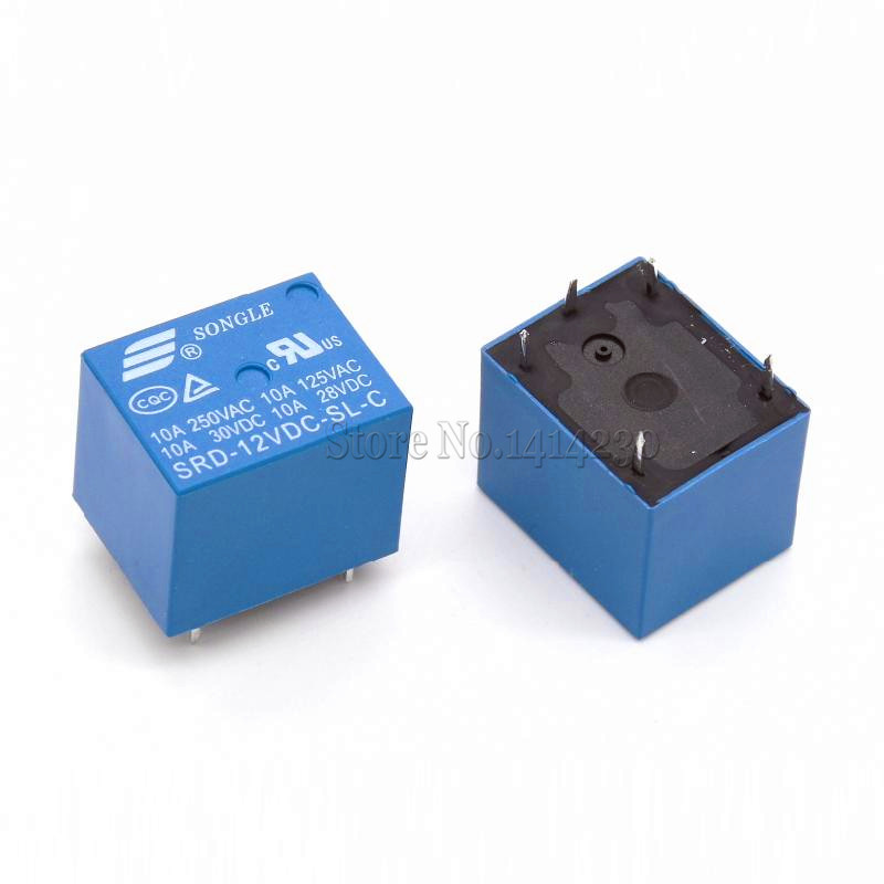 10Pcs 12V DC Power Relay SRD-12VDC-SL-C T73-12V 5Pin PCB Type In stock free shipping 100% new original power relay 100pcs lot sra 12vdc cl relay 12v 20a 5pin one open one close automotive relay