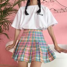 Harajuku Women Skirt Preppy Style Pleat Skirts Mini Candy Color School Uniforms PU Leather Ladies Jupe Kawaii Skirt 4DQ9589