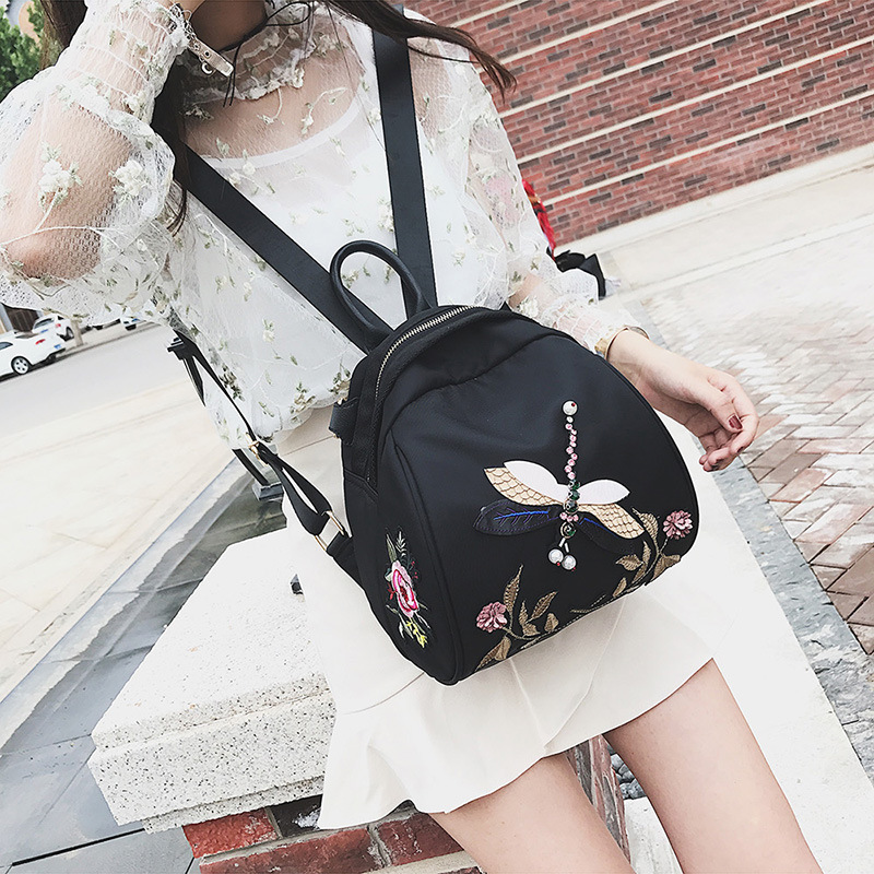 2017 new summer flower embroidery backpack stereo Diamond Dragonfly single backpack fashion