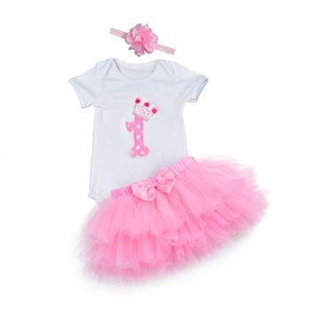 Fashion Baby Girl clothing Set Bodysuit jumsuit set Cotton Romper+6 layer tutu skirt Headbands Infant 1st Birthday Clothing suit 1