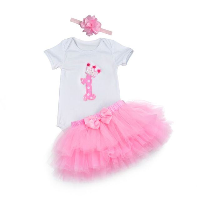 Fashion Baby Girl clothing Set Bodysuit jumsuit set Cotton Romper+6 layer tutu skirt Headbands Infant 1st Birthday Clothing suit 1