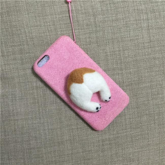 Corgi case handmake igły filcu wełnianego słodkie cat dog tyłek tyłek pokrywa dla apple iphone 6 6s plus iphone 7 7 p miękkie telefon komórkowy case 11