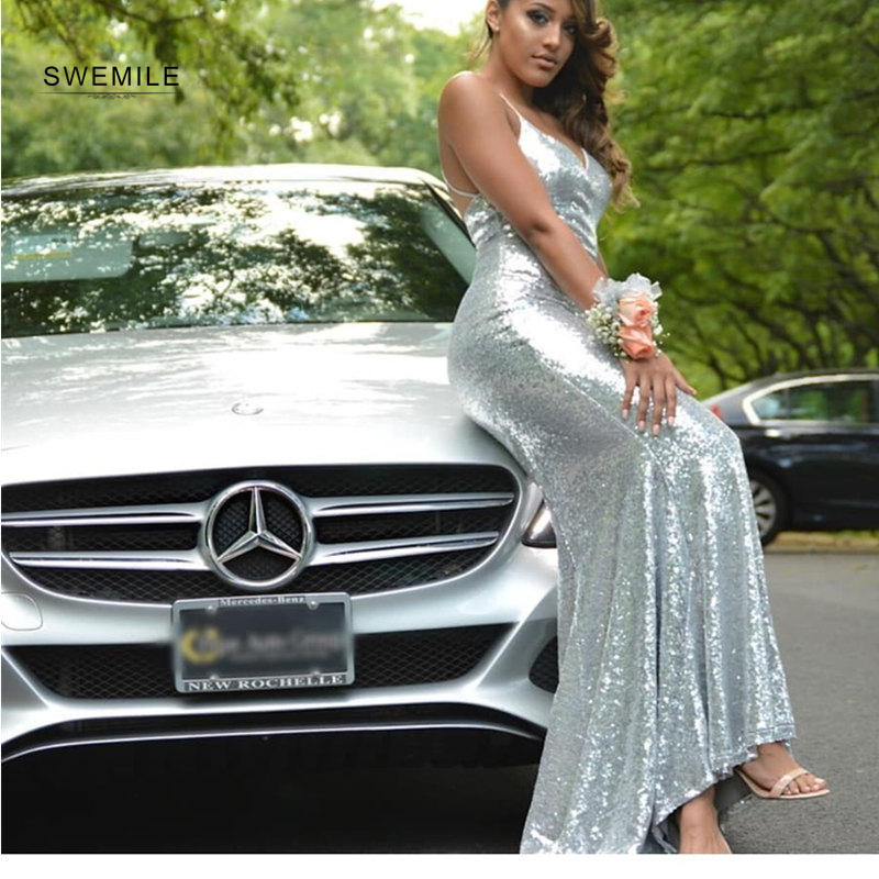 Simple Backless Hater Long Mermaid   Prom     Dresses   Sexy Sliver V-Neck Sequined   Prom   Gowns Spaghetti Strap Vestidos De Festa