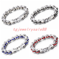 Charm Shiny Silver Black Blue Red Color Crystal Men S Boy S Stainless Steel Motorcycle Chain