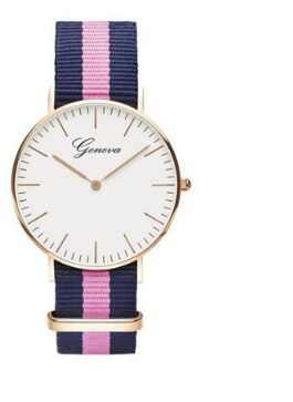 2018 Geneva Watch Brand Classic Nylon Strap Watches Men Women Rose Gold Casual Quartz Watch Fashion Ladies Watch Hot Sale