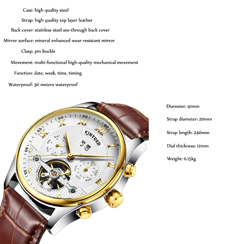 KINYUED męskie zegarki mechaniczne Top marka luksusowe wodoodporna kalendarz skórzany pasek szkielet zegarek mechaniczny zegarek zegar montre w Zegarki mechaniczne od Zegarki na  Grupa 2