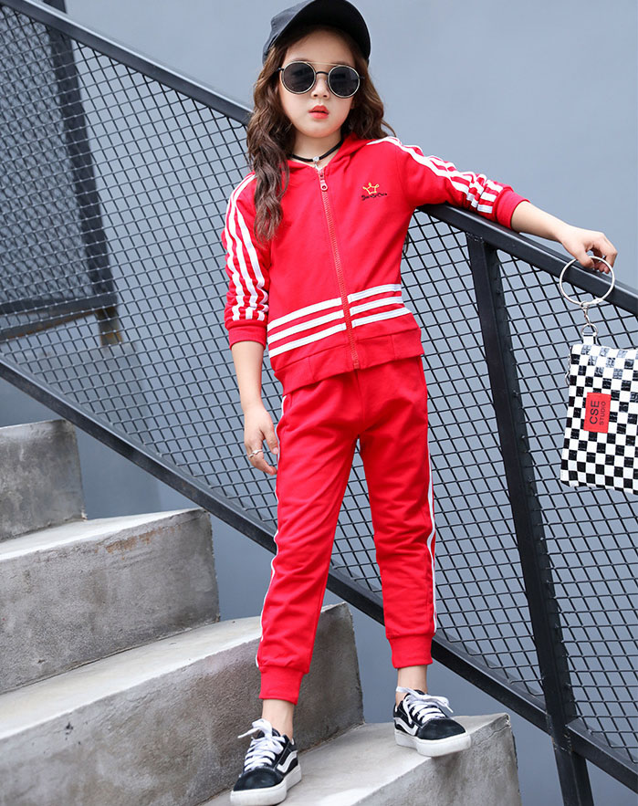 Girls boys new spring and autumn stripes sports suit cotton students suit large childrens clothing long-sleeved shirt + pants