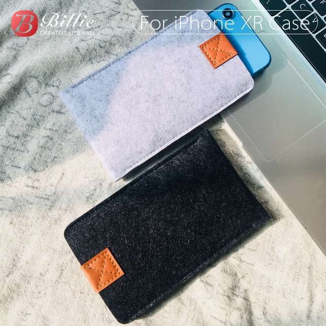 Phone Bag Wool Felt Pouch Protective Case Bag For iPhone XR Cases Cover Mobile Phone Handmade bags For iphone xr 6.1inch Gray