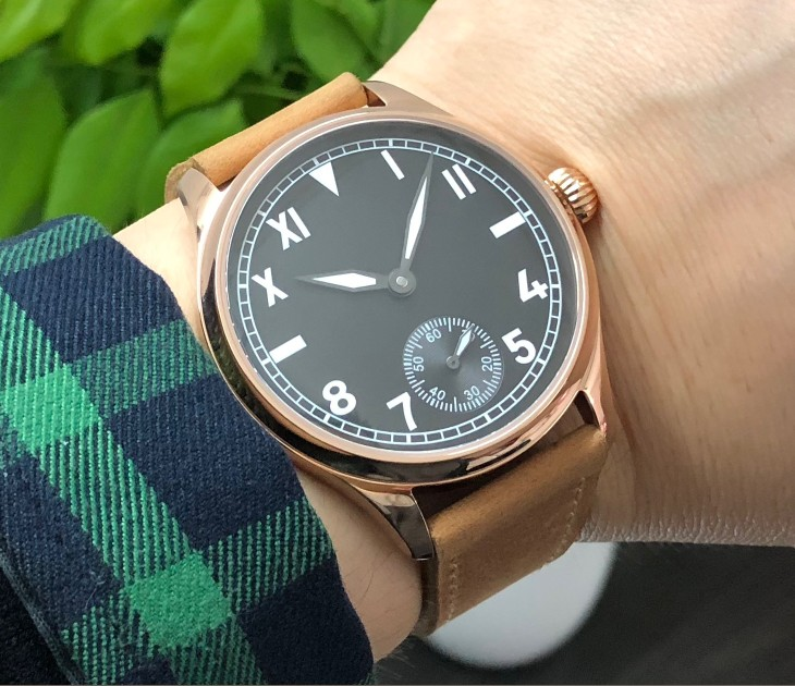 44mm Sapphire crystal or mineral glass Asian 6498 Mechanical Hand Wind movement men's watch Rose gold case luminous gr309-g8