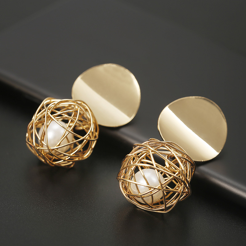 New Fashion Stud Earrings For Women Golden Color Round Ball  Geometric Earrings For Party Wedding Gift Wholesale Ear Jewelry(China)
