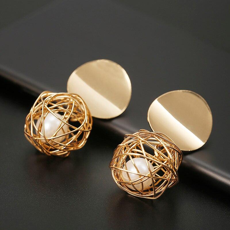 Pendientes de perno de moda para mujer pendientes geométricos de bola redonda de Color dorado para fiesta regalo de boda joyería de oreja al por mayor Nuevos