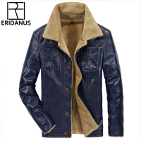 2018 New Brand Men's Leather Jacket Coats Mens Brand Clothing Thermal PU Outerwear Winter Fur Male Fleece Jackets M 4XL X787