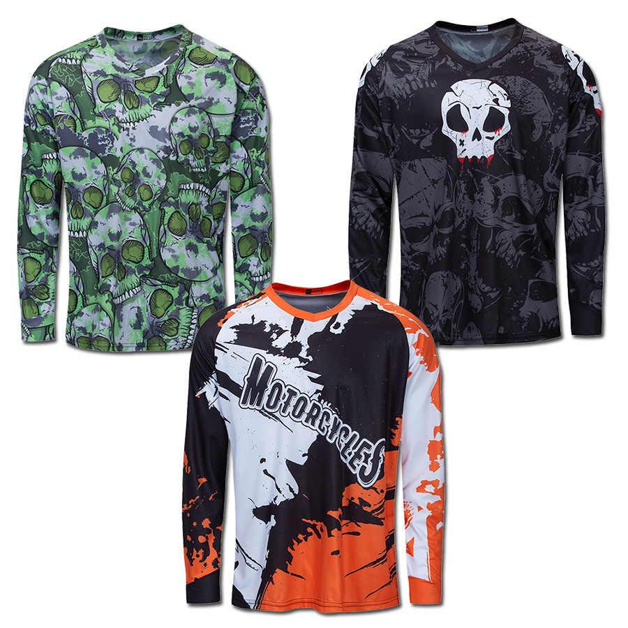 Men Long Sleeve Cycling Jersey MTB Downhill Shirt Motocross Bike Riding Clothing