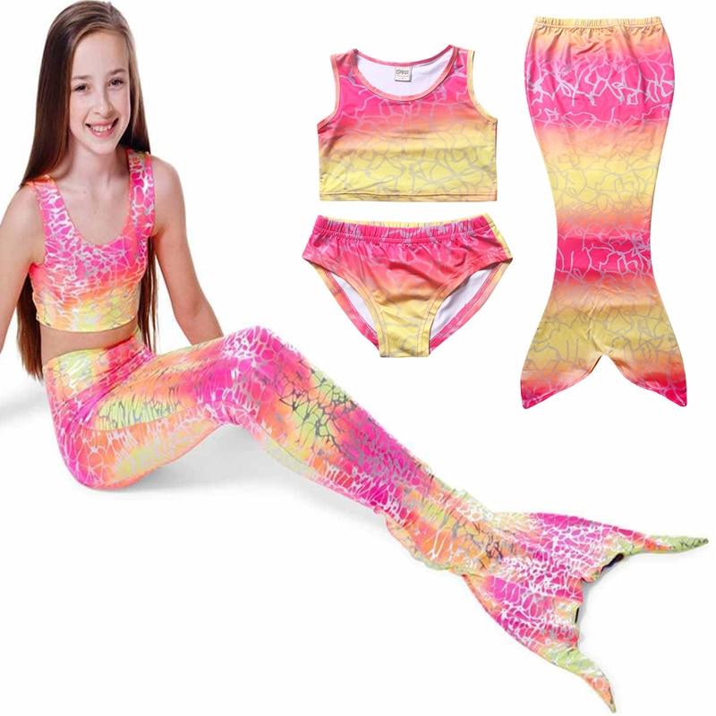 ④Nuevos niños Niñas Cosplay Natación sirena cola multicolor, Rosa ...