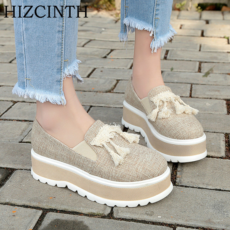 HIZCINTH 2018 Spring Flat Platform Shoes Woman Han edition Student Tide Casual Canvas Lazy Loafers  Fringe Women's Flats Shoes e toy word canvas shoes women han edition 2017 spring cowboy increased thick soles casual shoes female side zip jeans blue 35 40