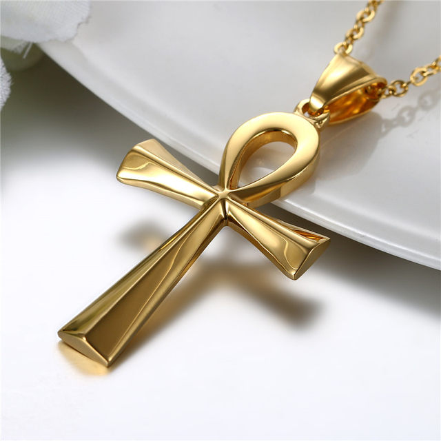 Online shop boniskiss egyptian ankh gold cross necklace for women boniskiss egyptian ankh gold cross necklace for women men jewelry stainless steel prayer necklaces pendants free 197 chain mozeypictures Images