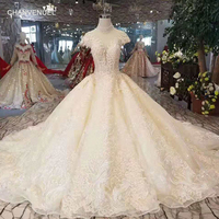 LSS351 luxury high neck wedding dress 2019 lace up open back bridal dress wedding gown ball gown floor length skirt with train