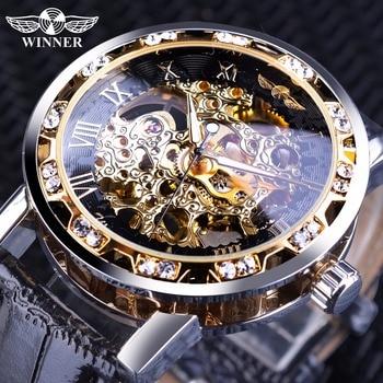 Vainqueur Noir D'or Rétro Lumineux Mains Mode Diamant Affichage Mens Mécanique Squelette montres-bracelets Top Marque montre de luxe