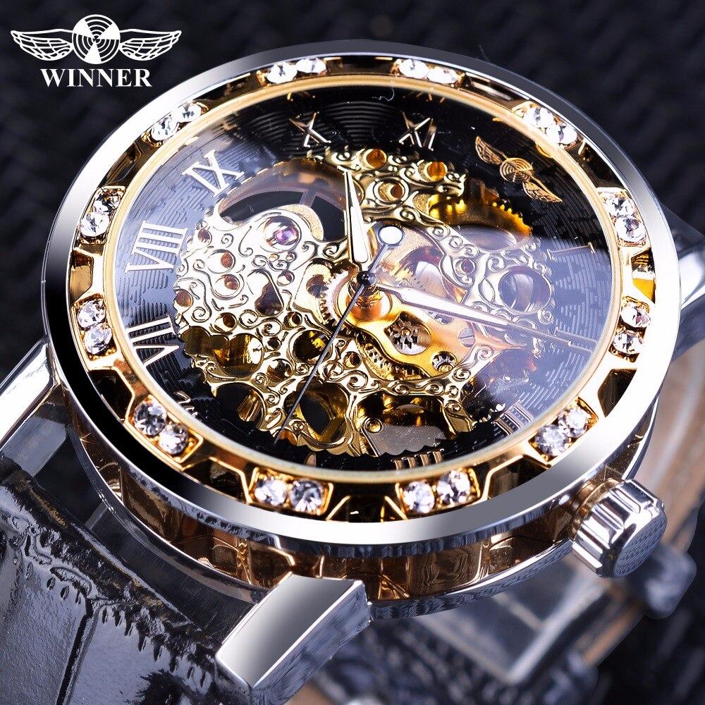 Ganador Oro Negro Retro luminoso manos de diamantes de moda de hombre esqueleto mecánico relojes superior de la marca de lujo de reloj