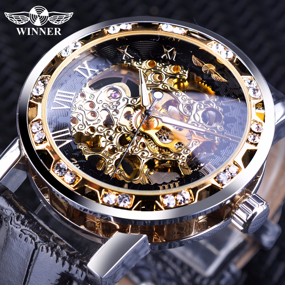 Winner Black Golden Retro Luminous Hands Fashion Diamond Display Mens font b Mechanical b font Skeleton