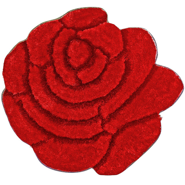 Nicerug Area Rug 35 Diameter Shaggy And Cozy Red Carpet Rose Flower Shaped Rugs