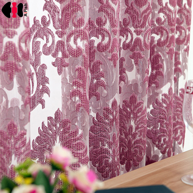 Classic style sheer tulle curtain for living room curtains purple ...