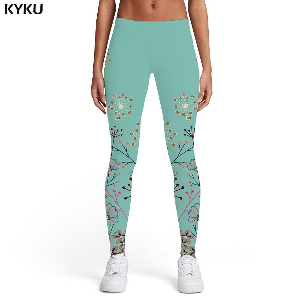 KYKU Flower Leggings Women Leaf Leggins Colorful Elastic Harajuku Spandex Ladies Womens Leggings Pants Jeggings Jeggins Funky