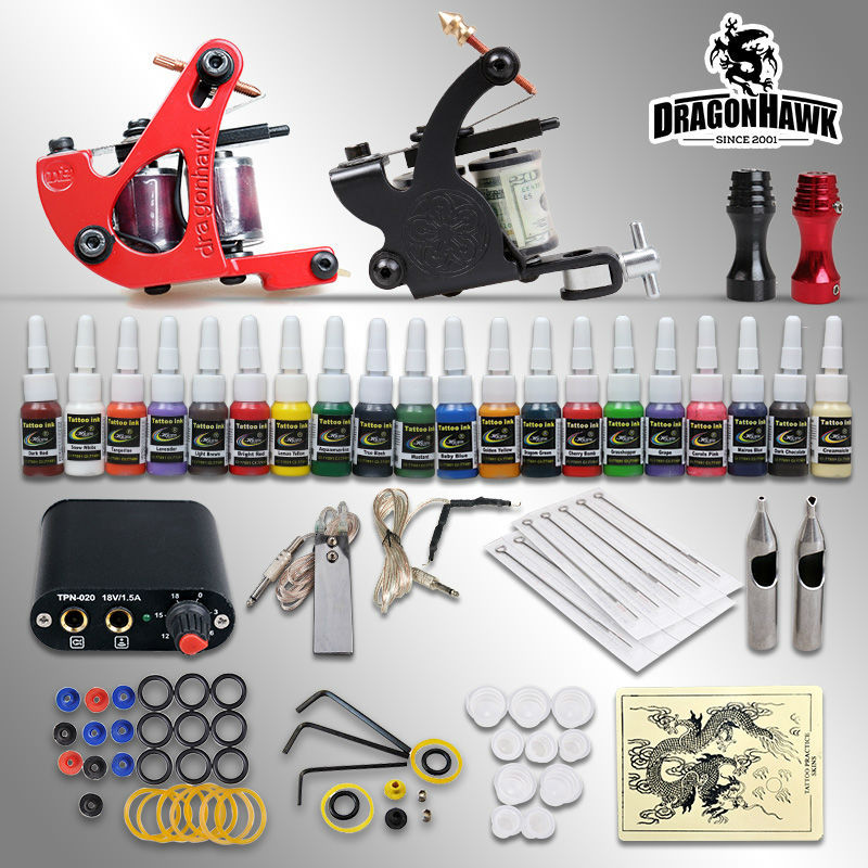 Beginner Tattoo Kit 2 Tatoo Machine Mini Power Supply 20 Colors Tattoo Inks Free Shipping wosport new powerful advance super luxurious army military airsoft paintball suit for tactical gear include uniform mask goggles