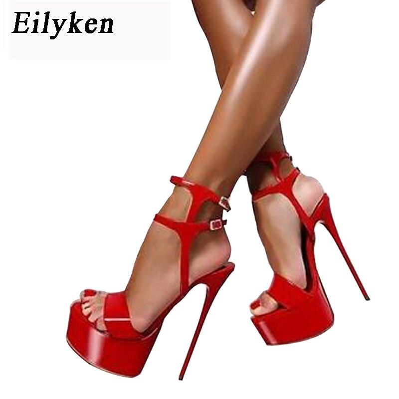 Eilyken Platform Summer Sandals Style Sexy 16cm Women Sandals high heels Open Toe Buckle Nightclub Shoes Black Big Size 34-40 2018 new style high heels women sandals open toe sandals female thick heel platform summer shoes big size 9