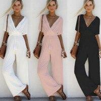 2018 New Women V Neck Loose Playsuit Party Ladies Romper Short Sleeve Long Jumpsuit