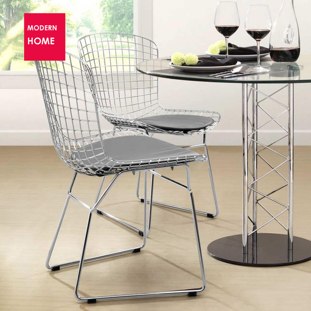 Delightful Modern Design Classic Popular Harry Bertoia Wire Chair Chair Padded Dining  Metal Chair Harry Bertoia Steel