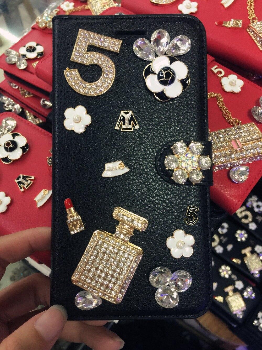 Алмаз флакон духов Сумочка цветок кожаный чехол для телефона Samsung Galaxy S8 S7 S6 Edge Plus S5 S4 S3 примечание 5 4 3 2