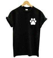 Kat Hond Poot Pocket Print Vrouwen t-shirt Katoen Casual grappige t-shirt Voor Dame Meisje Top Tee Hipster femme tops