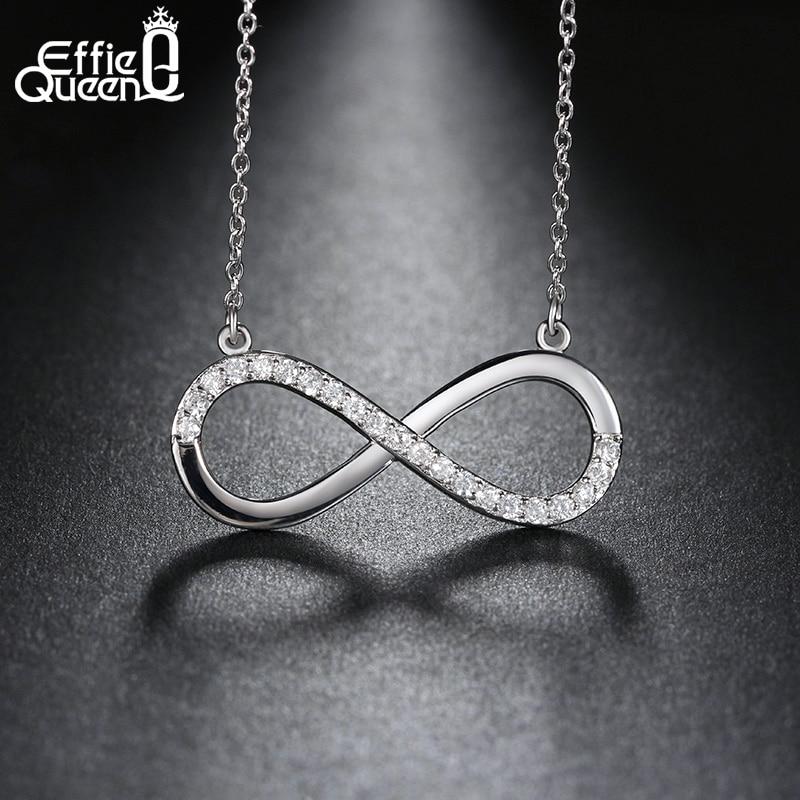 Effie Queen Dainty Infinity Love Sign Pendant Women Necklace Charm Cubic Zirconia Women Chain Trendy Necklaces DN112