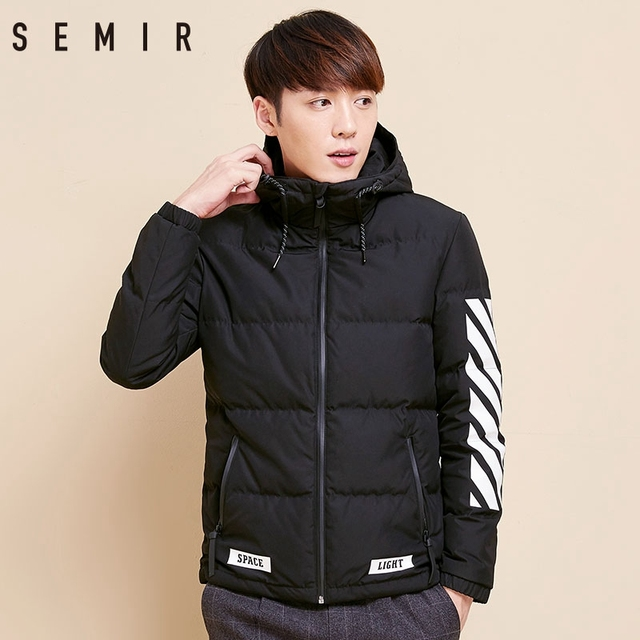 SEMIR Men Down Jacket Winter New Warm Duck Down Jacket Korean Casual Outdoor Fashion Students 80 Velvet Youth Male Clothing