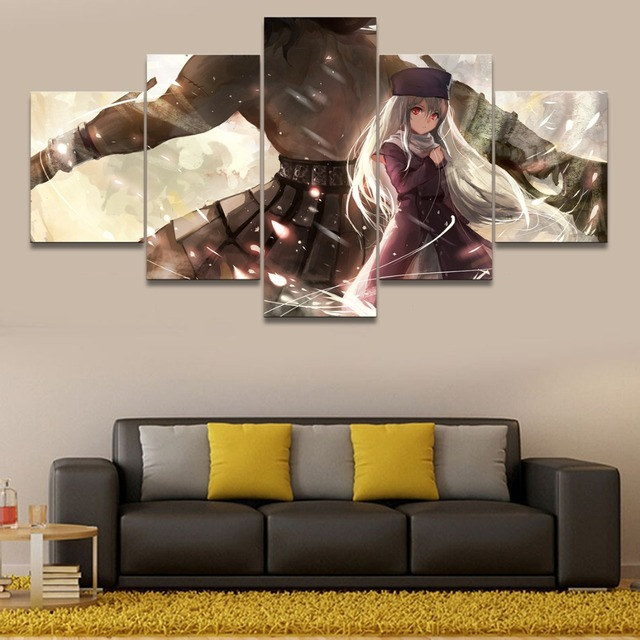 Jie do art canvas painting wall art home decorative bedroom 5 panel anime berserker fate stay