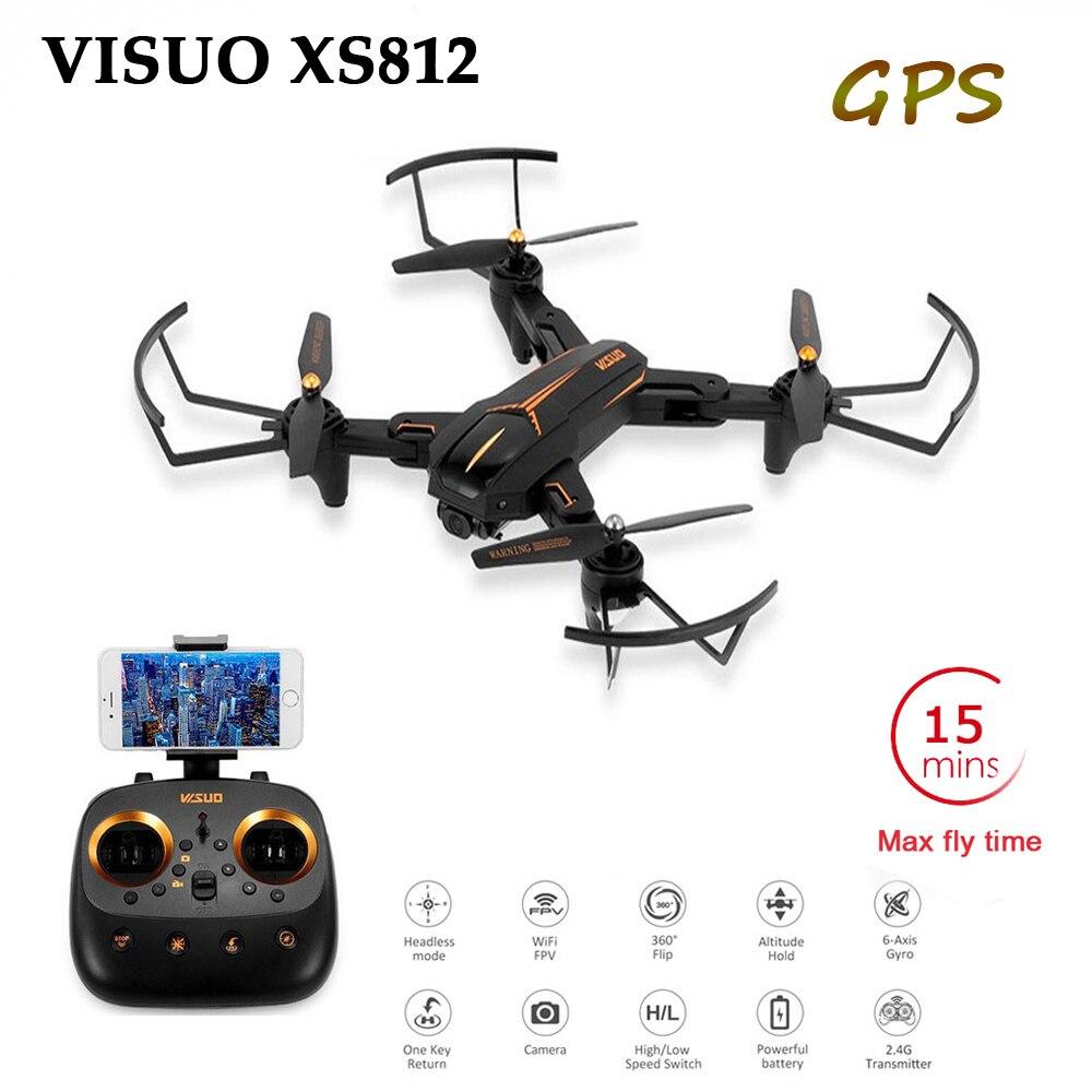 VISUO XS812 GPS 5G WiFi FPV avec caméra HD 2MP/5MP 15 minutes de temps de vol pliable Drone RC quadrirotor RTF cadeau de naissance pour enfants
