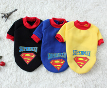 Pet Dog Puppy Cotton Superman Clothes , Halloween Apparel Costumes Outfit Suit Cat Dog Clothing 1pcs/lot 3 Colors Free Shipping