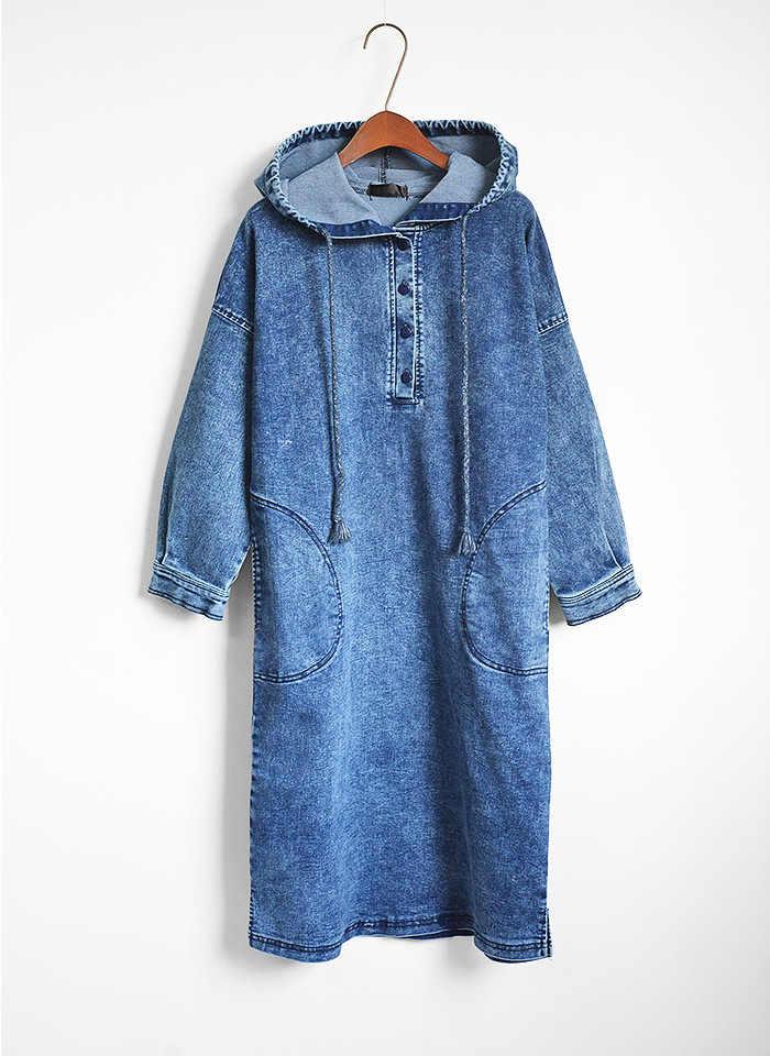 Женские повседневные джинсовые платья Vestido карманы элегантные ковбойские Модные женские Feminino женские тонкие рубашки свободный халат с капюшоном Повседневное платье