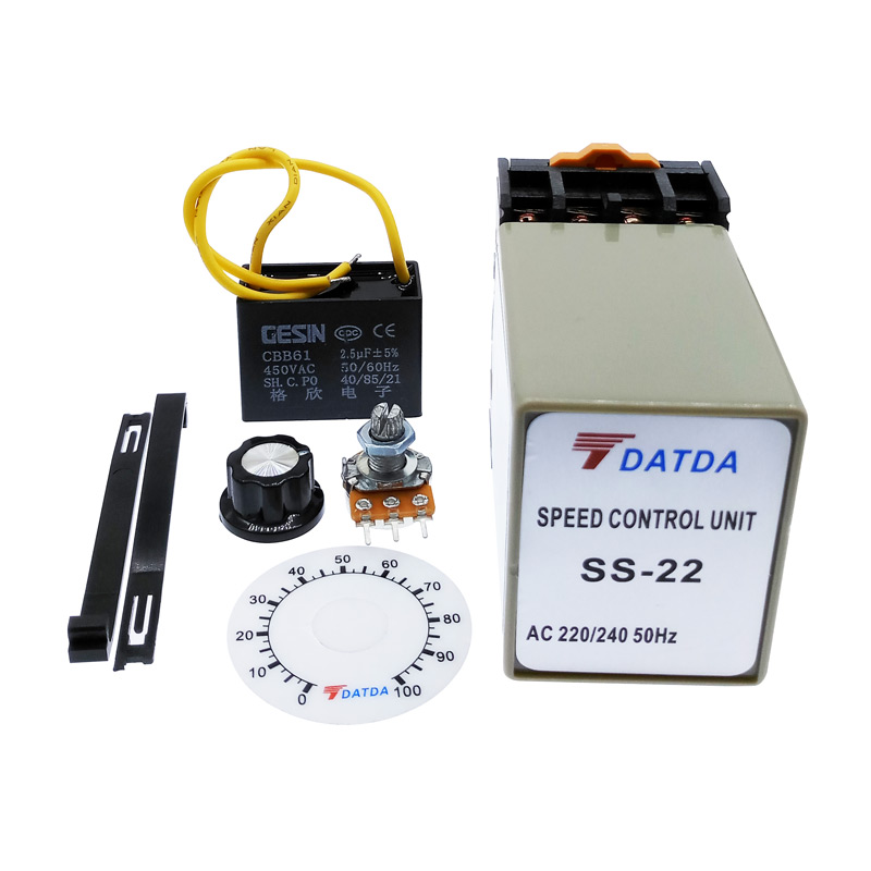 SS-22 ac motor Speed Controller 220V 50HZ speed regulator with  20K Ohm Potentiometer+Capacitor+DialSS-22 ac motor Speed Controller 220V 50HZ speed regulator with  20K Ohm Potentiometer+Capacitor+Dial