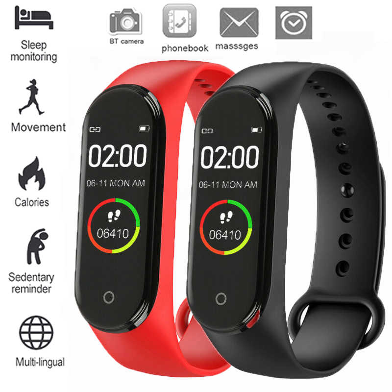 M4 Mart Watch Men And Women Sports Fitness Bluetooth Bracelet Camera Heart Rate Blood Pressure Sleep Monitoring Pedometer Belt
