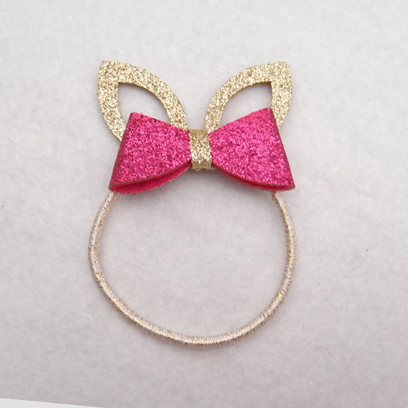 12 Pieces Cute Glitter Ponytail Holder Lovely Rabbit Ears Hair Ties Fashion Girls Hair Accessories Hair Bow Elastic Hair Bands