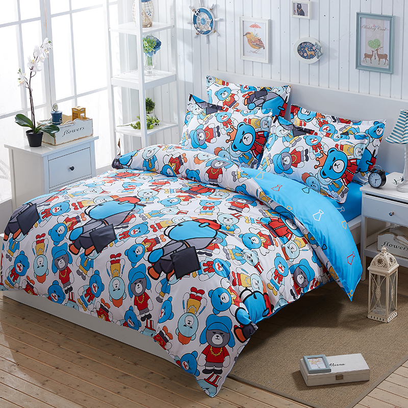 kids boys child bedroom cartoon bedding set super twin queen king size bed linen bed sheet - King Size Bed Sheets