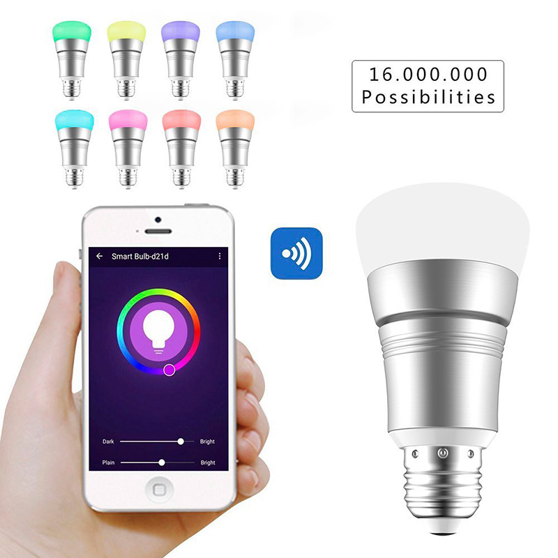 WiFi Smart LED Light Bulb E27/B22 RGBW Wireless Remote Control for Amazon Alexa Google Home ALI88 magic 7w e27 wifi rgbw led light bulb smart wireless remote control le lamp color change dimmable for home hotel ios android