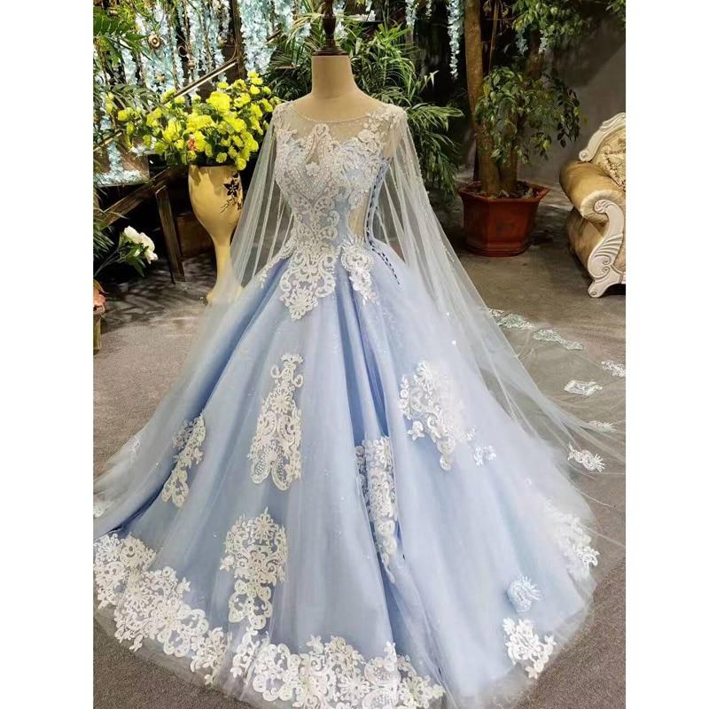 2017 Imagini reale Albastru rochie de mireasa rochie de mireasa lunga - Rochii de mireasa - Fotografie 5