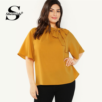 Sheinside Plus Size Elegant Bow Tie Neck Blouse Women 2019 Summer Raglan Sleeve Chiffon Blouses Ladies Stand Collar Solid Top