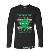 2017 Najnowszy Moda Śmieszne Cthulhu Cultist Brzydki Sweter Wzór funny t shirt z długim rękawem